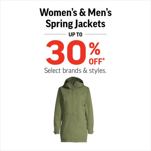 Spring Jackets Up to 30% Off* Select Brands and Styles.