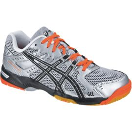 ASICS Men's Gel Rocket 6 Indoor Court Shoes - Silver/Black/Orange