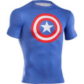Under Armour Transform Yourself Captain America Compression Short Sleeve Top Mens