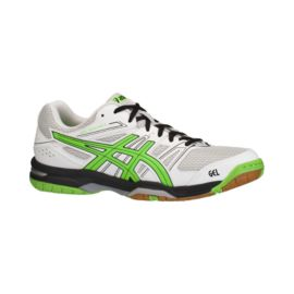 ASICS Men's Gel Rocket 7 Indoor Court Shoes - White/Green/Black