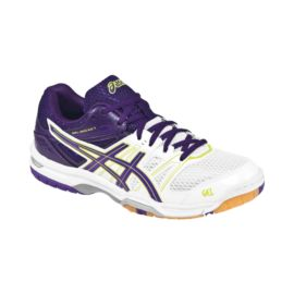ASICS Women's Gel Rocket 7 Indoor Court Shoes - White/Purple/Yellow
