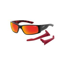 Arnette Unreal Sunglasses - Gloss Black with Fuzzy Red/Matte Black- Red Mirror