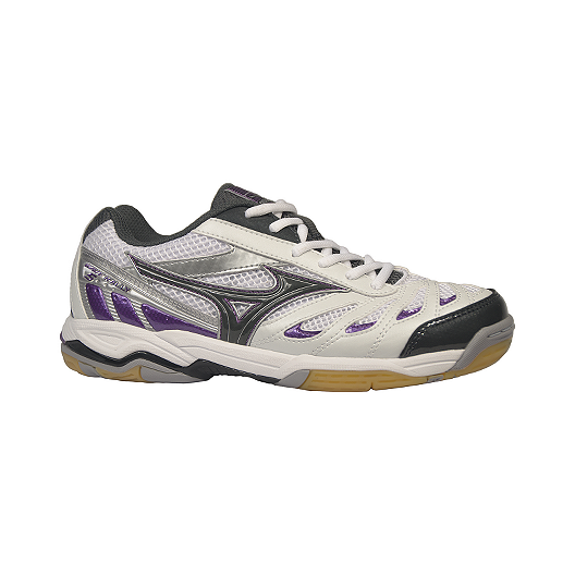 93f12fccfd2c Mizuno Women s Wave Rally 5 Indoor Court Shoes - White Dark Grey Purple