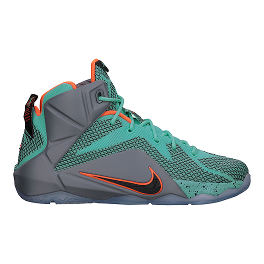 c8ef8e381a2 Nike Men s LeBron 12 Basketball Shoes - Teal Grey Orange