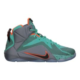 Nike Men's LeBron 12 Basketball Shoes - Teal/Grey/Orange