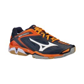 Mizuno Men's Wave Stealth 3 Indoor Court Shoes - Navy/Orange