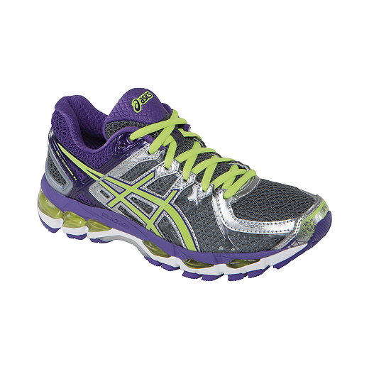 5c82c6511e8 ASICS Women's Gel Kayano 21 Running Shoes - Purple/Green/Grey