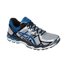 ASICS Men's Gel Kayano 21 2E Wide Width Running Shoes - Silver Grey/Blue/Black