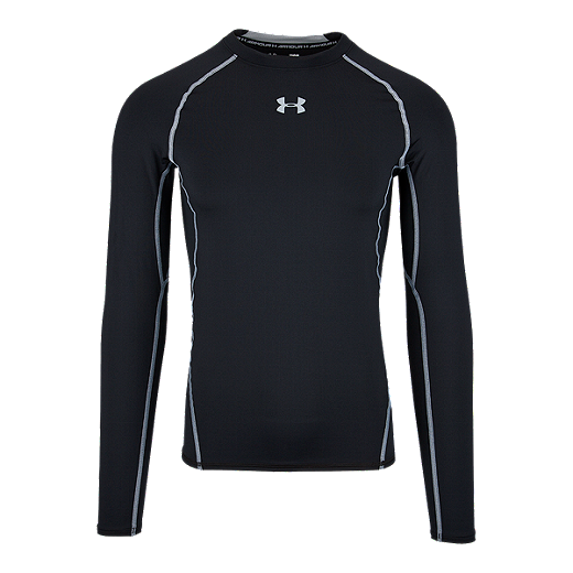 c0abccca Under Armour Heatgear Armour Compression Men's Long Sleeve Top - 001 BLACK /STEEL