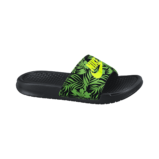 91585985b57d Nike Kids  Benassi JDI Grade School Sandals - Black Volt Green ...