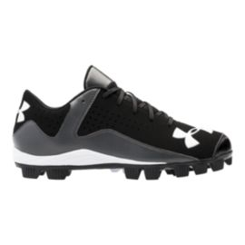 Under Armour Kids' Leadoff Low RM Baseball Low-Cut Cleats - Black/Grey/White