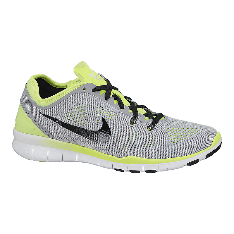 big sale a40fb e592d ... uk nike womens free 5.0 tr fit 5 training shoes grey volt green sport  chek 39e80
