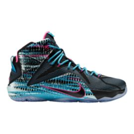 Nike Men's LeBron 12 Basketball Shoes - Black/Blue/Pink Pattern