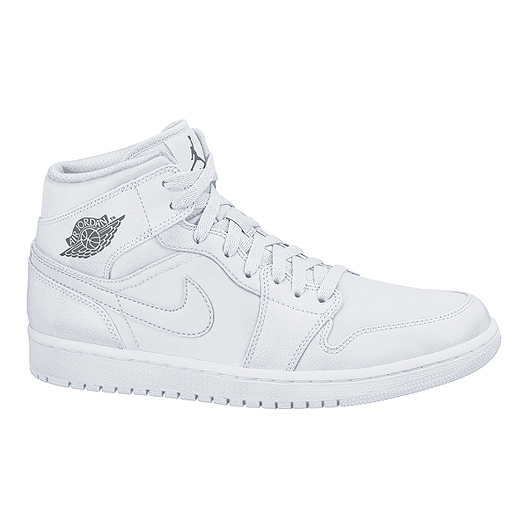 buy popular 1ad59 f7c2e Nike Men s Jordan 1 Mid Basketball Shoes - White Grey   Sport Chek
