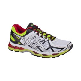 ASICS Men's Gel Kayano 21 Running Shoes  - White/Lime Green/Red