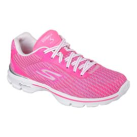 Skechers Women's Go Walk 3 Fitknit Walking Shoes - Pink/White