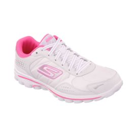 Skechers Women's Go Walk 2 Flash LT Shoes - White/Pink