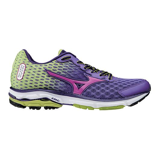 watch 9cebe 88ce9 Mizuno Women's Wave Rider 18 Running Shoes - Purple/Green ...