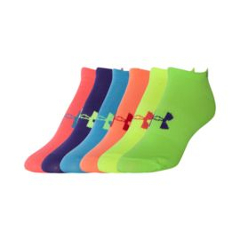 Under Armour Girls' Neon No Show Liner Socks 6 - Pack