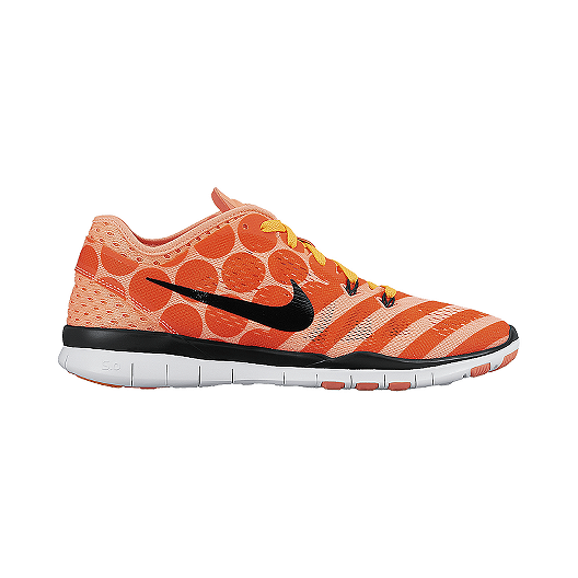 01953b52ceda Nike Women s Free 5.0 TR Fit 5 Breathe Training Shoes - Orange  Pattern Black