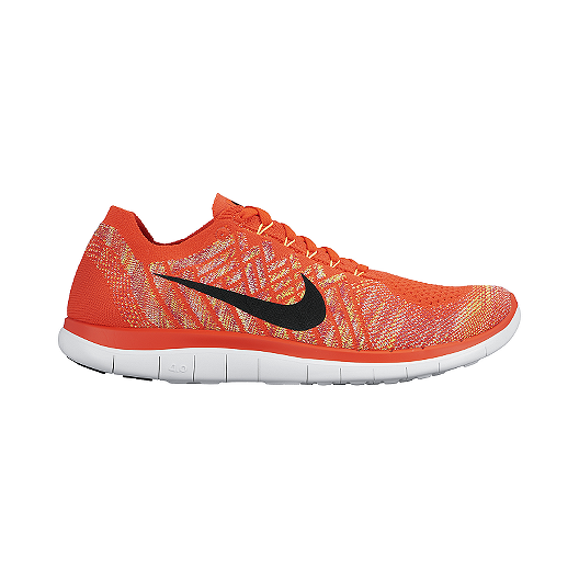 Nike Free 4.0 Flyknit Mens Running Shoes Red Orange White Latest