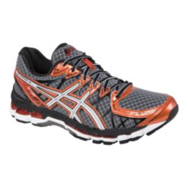ASICS Men's Gel Kayano 20 Running Shoes - Grey/Orange/Black