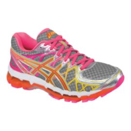 ASICS Women's Gel Kayano 20 Running Shoes - Silver/Pink/Orange