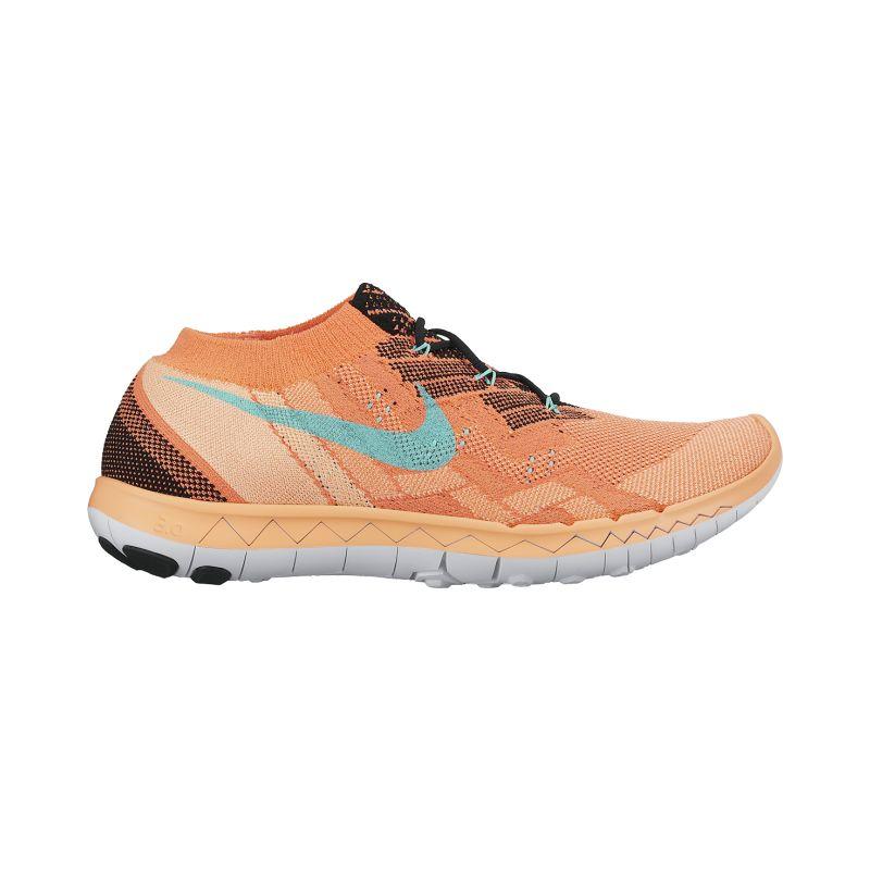 nike s free 3 0 flyknit running shoes orange blue