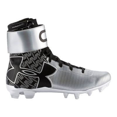 Under Armour Men's C1N Mid Football Cleats - Silver/Black