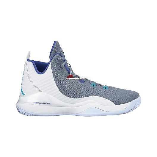 7549fd5ade191 Nike Men s Jordan Super.Fly 3 PO Basketball Shoes - White Grey Blue ...
