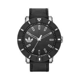 adidas Amsterdam Watch Stainless with Black Leather Strap