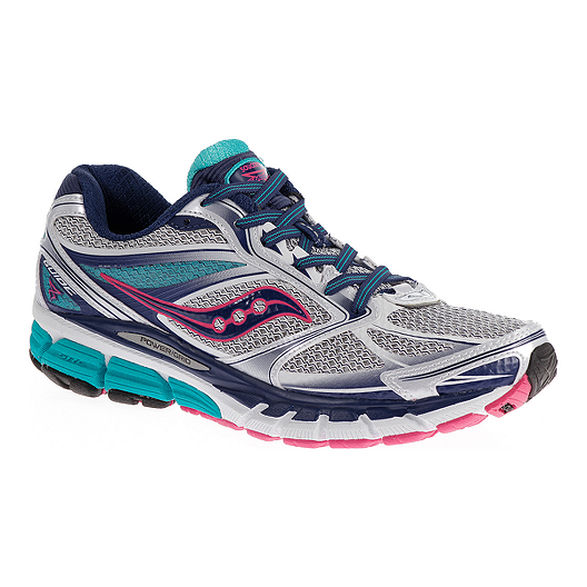 3acb74f67f8 Saucony Women s PowerGrid Guide 8 Running Shoes - Silver Blue Pink ...