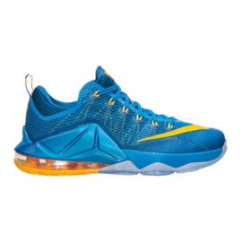 "Nike Men's LeBron XII Low ""Entourage"" Basketball Shoes - Blue/Yellow"