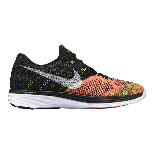 2511abb5626dc Nike Men s FlyKnit Lunar 3 Running Shoes - Black Orange Volt Green ...