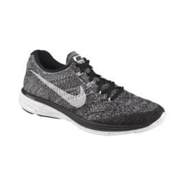 Nike Men's FlyKnit Lunar 3 Running Shoes - Black/White/Grey