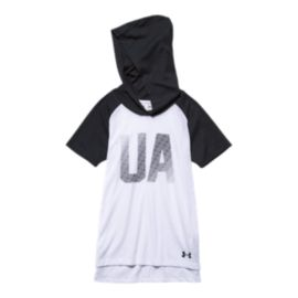 Under Armour Charged Girls' Cotton Short Sleeve Hoooded Top