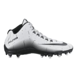 Nike Men's Alpha Pro Mid Football Cleats - White/Black
