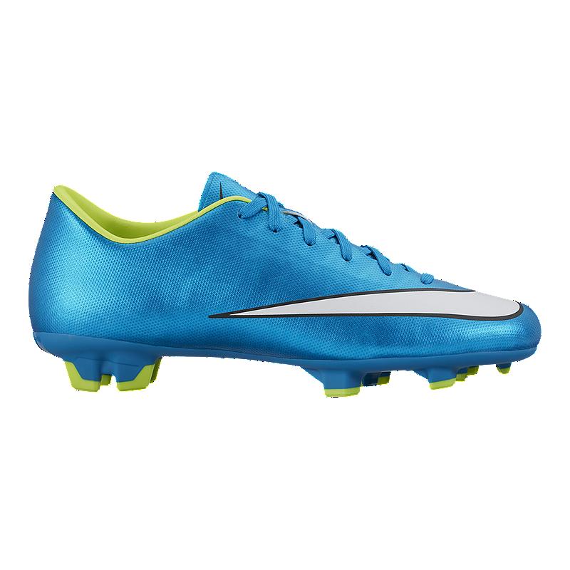 Nike Women s Mercurial Victory V FG Outdoor Soccer Cleats - Blue Volt Green   5d289990f