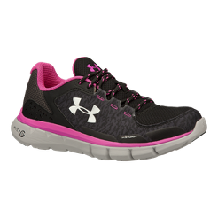 Under Armour Women s Micro G Velocity Storm RN Running Shoes - Black Pink  0d30d0ed6d08e
