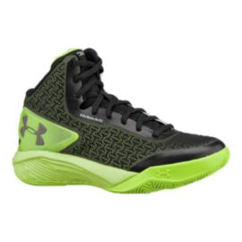 Under Armour Kids' ClutchFit Drive Grade School Basketball Shoes - Black/Green/Grey