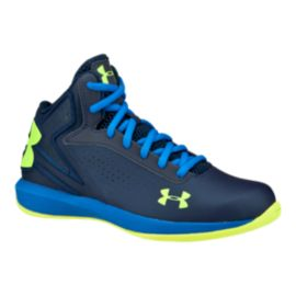 Under Armour Kids' Micro-G Torch Grade School Basketball Shoes - Academy/Blue/Yellow