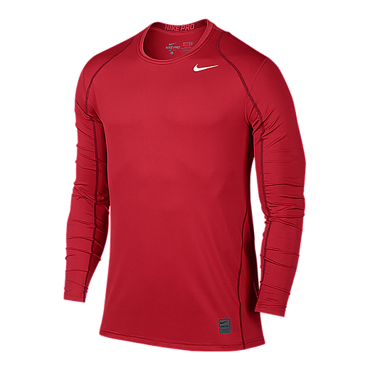 1cc14327 Nike Pro Cool Fitted Men's Long Sleeve Top - 657 UNIVERSITY RED/GYM RED