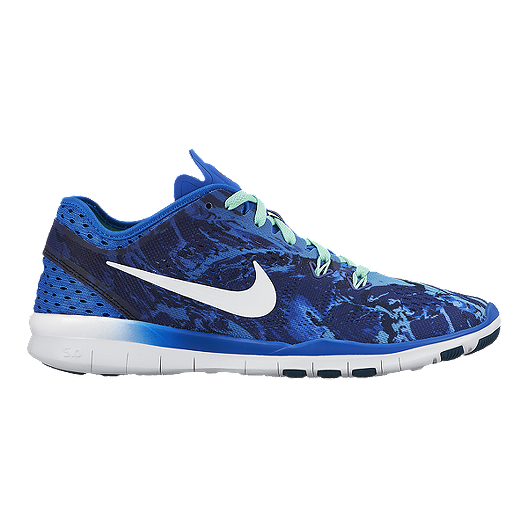 dce21e95b6d Nike Women s Free 5.0 TR Fit 4 Training Shoes - Royal Blue Camo ...
