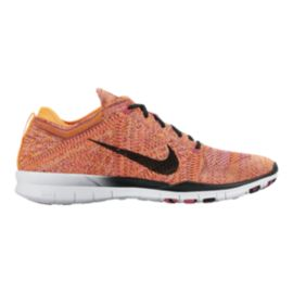 Nike Women's Free Flyknit TR Training Shoes - Orange/Pink/Black