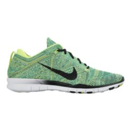 Nike Women's Free Flyknit TR Training Shoes - Volt Green/Black/White
