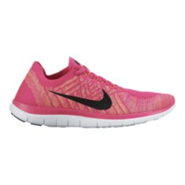 Nike Women's Free 4.0 FlyKnit Running Shoes - Pink/Orange/Black