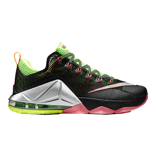 062511fb78693 Nike Men's LeBron 12 Low Basketball Shoes - Black/Silver/Green | Sport Chek