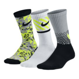 Nike Youth Multi-Graphic Kids' 3-Pack Crew Socks