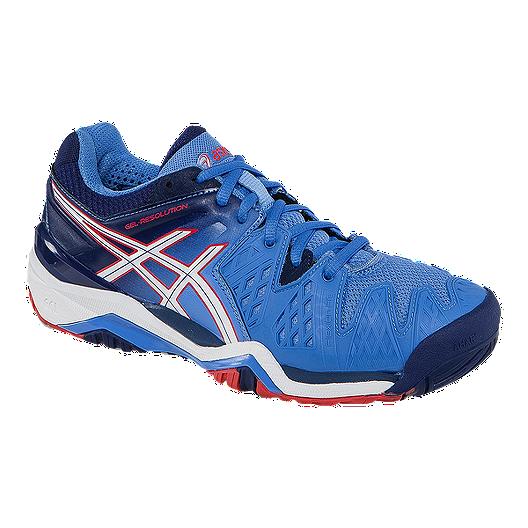 bd32e189402 ASICS Women s Gel Resolution 6 Tennis Shoes - Blue Navy Red