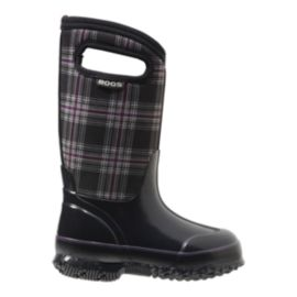 Bogs Girls' Classic Plaid Winter Boots - Black